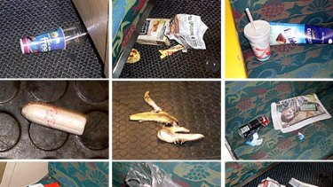 Some of the items strewn across one Airtrain.