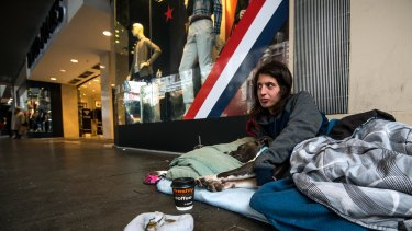 Emma is homeless and sleeps in front of the David Jones store in Bourke Street.