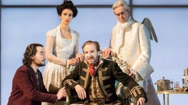 Ralph Fiennes (seated) in the NT Live production of George Bernard Shaw's <i>Man and Superman</i>.