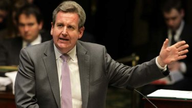 Backed into a corner ... NSW Premier Barry O'Farrell speaks during question time.