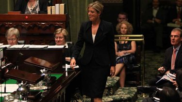Red rag ... Kristina Keneally struts to the lectern.