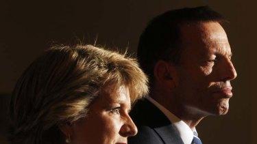 Carbon cloud ... Tony Abbott and Julie Bishop.