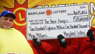 """The Three Amigos"" ... two schoolteachers and one school administrator claimed their share of the US record $US656 million Mega Millions jackpot."