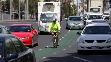 In the thick of it ... cyclists are vulnerable and advised not to retaliate when threatened.