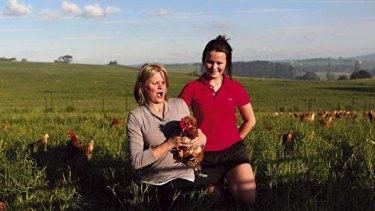Jacqui Steele and Arabella Corrie on their Egganic farm: egg farm near Orange.