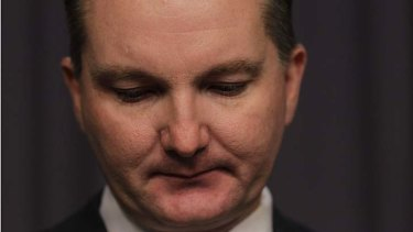 Chris Bowen during a press conference at Parliament House.