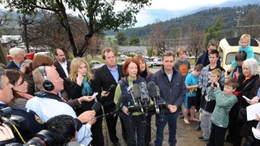 Prime Minister Julia Gillard speaks to the media during a visit to Marysville today.