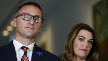 Senators Richard Di Natale and Sarah Hanson-Young address the media after the government announced it had struck a deal with the crossbench to pass its Gonski school funding reforms.