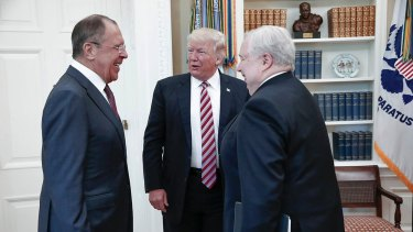 US President Donald Trump with Russian Foreign Minister Sergey Lavrov, left, and Russian ambassador to the US Sergey Kislyak in the White House in May.