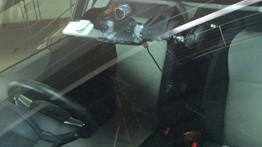 A camera mounted to the windscreen of the car.