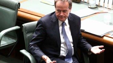 Opposition Leader Bill Shorten during Question Time. Photo: Alex Ellinghausen