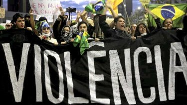 Demonstrators take to the streets of Sao Paulo.