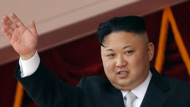 North Korean leader Kim Jong-un waves during a military parade in Pyongyang, North Korea.