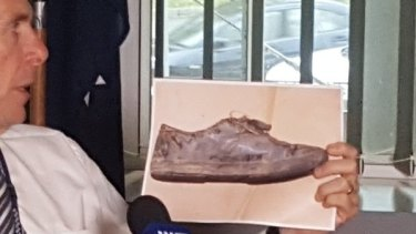 A picture of a shoe believed to have belonged to Tiahleigh, recovered near where her body was found.