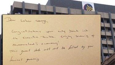 Dear Labor Stooge Queensland Executive Building