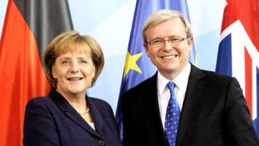 'A lot of fun' ... Angela Merkel and Kevin Rudd.