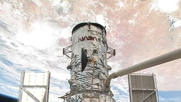 The Hubble space telescope, as seen from the space shuttle Atlantis.