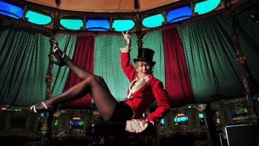 Mademoiselle Boo the ringmaster of the Famous Spiegel Garden tent.