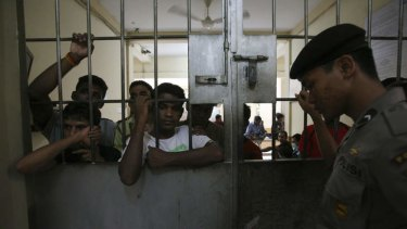 Facing a long stay: Detainees at an immigration detention centre in Belawan, North Sumatra.