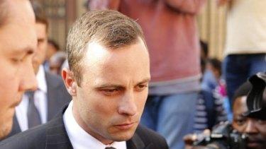 Oscar Pistorius leaves the court on Thursday.