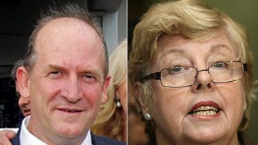 On a 'joyflight' together ... HWT boss Peter Blunden and Victoria Police chief commissioner Christine Nixon.