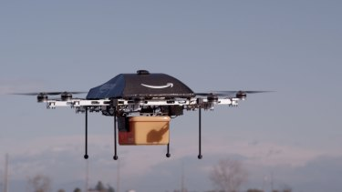 First Amazon Prime Air delivery by drone in the UK on December 7, 2016.