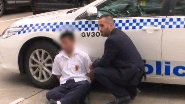 Screengrabs of young suspect in Bonnyrigg High School stabbing in Western Sydney.