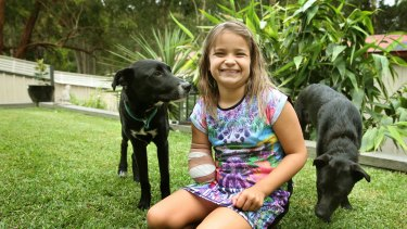 Thalia Standley, 8, with her dogs, Simba and Shadow.