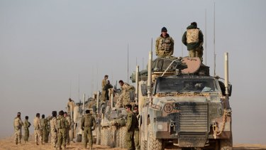 Australian troops move in bushmaster convoy in Uruzgan province, Afghanistan.