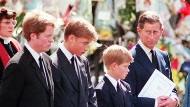 Earl Spencer, Princes William and Harry, and Prince Charles, at Diana's funeral.