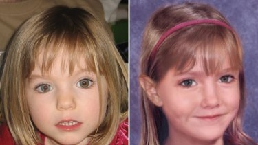 A combination of two pictures shows Maddie McCann at the age of 3, and an 'age progression' image of her at the age of 6.