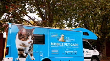 The Lost Dogs Home mobile pet care van. Some members of the animal charity, deeply upset by developments, are considering cancelling bequests.