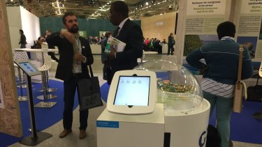 An Engie stand in the French government pavilion at the Paris climate summit.