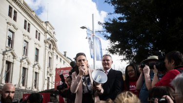 Jacinda Ardern launching Labour's campaign outside Auckland Town Hall – the Ground Zero of Jacindamania.