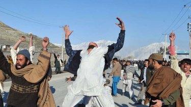 More deaths ... Afghan demonstrators shout anti-US slogans during a protest against Koran desecration in Kabul.