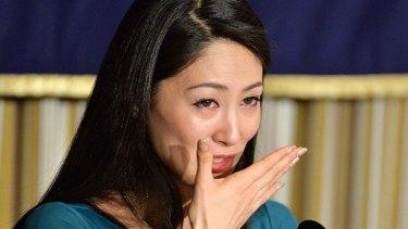 Ikumi Yoshimatsu becomes emotional at the press conference yesterday.