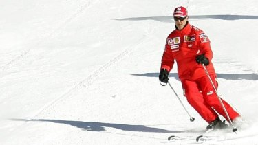 Michael Schumacher skis at a Formula One team event in 2006. The seven-time champion was critically injured after hitting his head on rocks at the French Alps resort of Meribel on December 31, 2013.