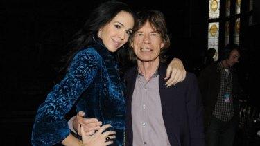 Tragic: Designer L'Wren Scott and boyfriend musician Mick Jagger in New York City.