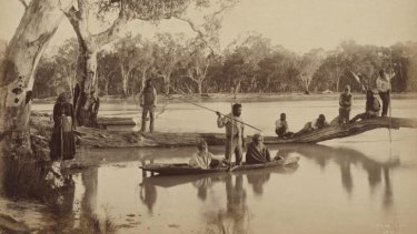 Group of local Aboriginal people, Chowilla Station, Lower Murray River, South Australia,1886.