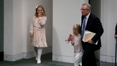 Treasurer Scott Morrison with his family after he delivered the budget speech on Tuesday.