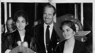 Escape: John Calvert with Pilita Corrales, right, and the bosun's wife, Marina Attias, after they were rescued in 1959.
