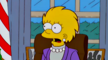 """""""As you know, we've inherited quite a budget crunch from President Trump,"""" President Lisa Simpson said 16 years ago."""
