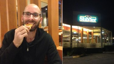 Ah, cheese bread my old friend. Meanwhile, the Sizzler sign stands out like an Oasis in the dessert...er...desert.