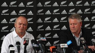 Stepping down ... Graham Henry (L) announces he is leaving his role as All Blacks coach.