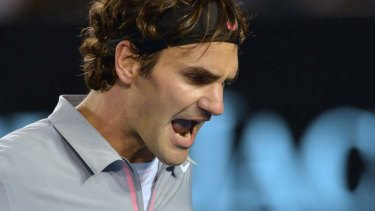 Let it out: Roger Federer during his loss to Andy Murray.