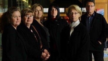 Victims ... Liz, left, Sophia Patsiouras, Denise Kekatos, Anna Papoutsis, Irene Zakis and Stephen Zakis outside court.
