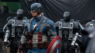 Dome of the brave ... Captain America (Chris Evans) faces off with the henchmen of Colonel Schmidt (Hugo Weaving).