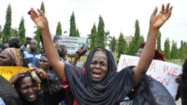 An unidentified mother during a demonstration with others who have daughters among the kidnapped schoolgirls.