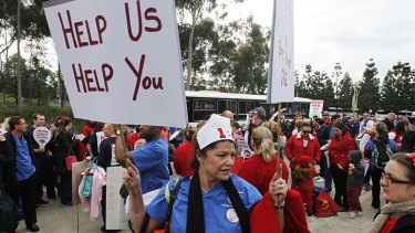All about numbers: About 2500 union members pushed their case at Sydney Olympic Park.