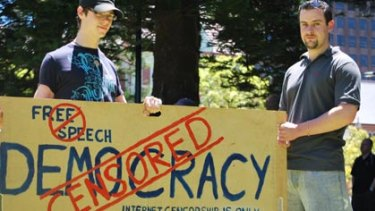 Protestors rallied in Perth against the Federal Government's planned internet censorship.